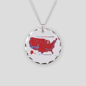 Trump vs Clinton Map Necklace Circle Charm