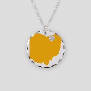 Ohio Cleveland Heart Necklace Circle Charm