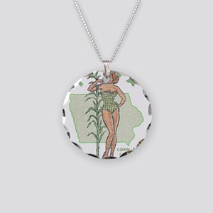 Faded Iowa Pinup Necklace Circle Charm