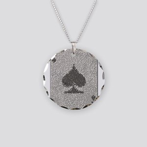 Ace of Spades Mosaic Necklace Circle Charm