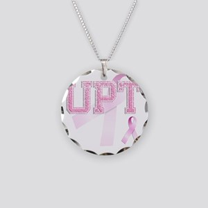 UPT initials, Pink Ribbon, Necklace Circle Charm