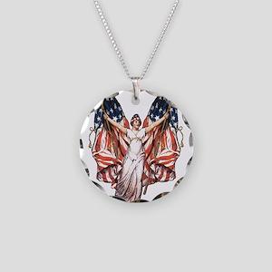 Vintage American Flag Art Necklace Circle Charm