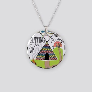 A Glamping we will go Necklace Circle Charm