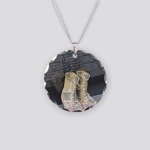 Boots at Vietnam Veterans Me Necklace Circle Charm