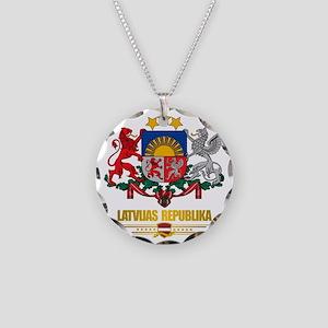 Latvia COA (Flag 10)2 Necklace Circle Charm