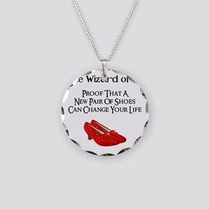 Dorothys Ruby Red Slippers Necklace Circle Charm
