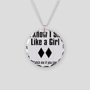 ski like a girl Necklace Circle Charm