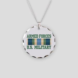 US Military Service Ribbon Necklace Circle Charm