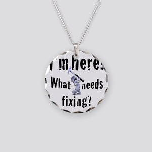 robot handyman with hammer Necklace Circle Charm