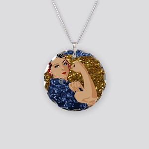 glitter rosie the riveter Necklace Circle Charm