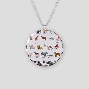 Animal pictures alphabet Necklace Circle Charm