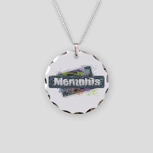 Memphis Design Necklace Circle Charm