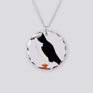 Pretty Puffin Necklace Circle Charm