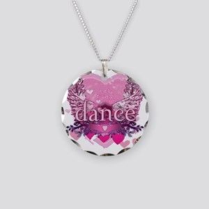 eat pray dance pink heart wi Necklace Circle Charm