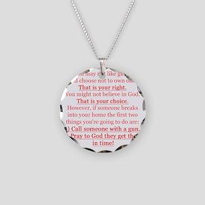 Pro Gun Quote Necklace Circle Charm