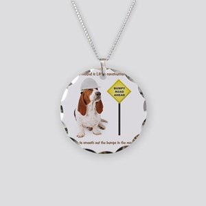 Basset Hound Construction Wo Necklace Circle Charm
