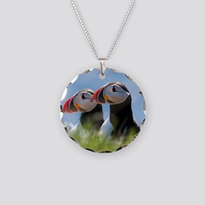 Puffin Pair 7.355x9.45 Necklace Circle Charm