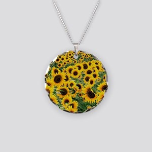 Sunflowers Necklace Circle Charm