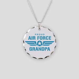 Proud Air Force Grandpa W Necklace Circle Charm