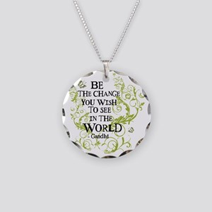 Be the Change - Green - Ligh Necklace Circle Charm