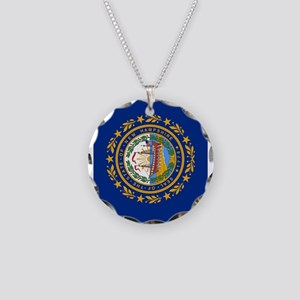 New Hampshire State Flag Necklace Circle Charm