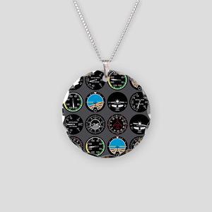 Flight Instruments Necklace Circle Charm