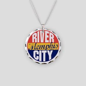Memphis Vintage Label B Necklace Circle Charm