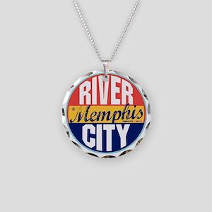 Memphis Vintage Label W Necklace Circle Charm