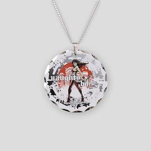 Naughty Boyz Black T Necklace Circle Charm