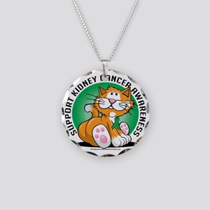 Kidney-Cancer-Cat Necklace Circle Charm
