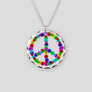 1960's Era Hippie Flower Pea Necklace Circle Charm