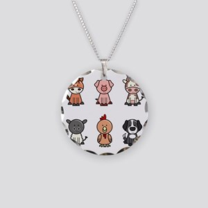 farm animal set Necklace Circle Charm