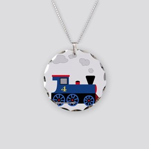 train age 4 blue black Necklace Circle Charm
