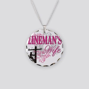 linemans wife3 white Necklace Circle Charm