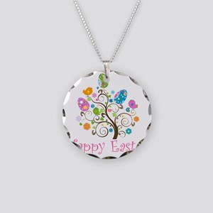 Happy Easter Necklace Circle Charm