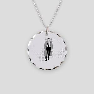 Castiel blk Necklace Circle Charm