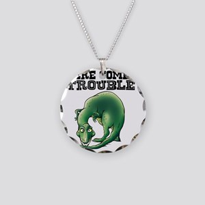 Here Comes Trouble Dinosaur Necklace Circle Charm