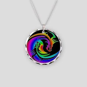 Zen rainbow dragons 11x11 Necklace Circle Charm