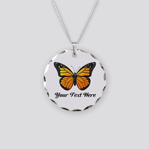 Orange Butterfly Custom Text Necklace Circle Charm