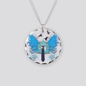 Nerd Angel 2 Necklace Circle Charm
