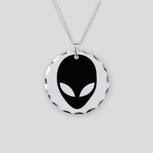 Alien silhouette Necklace Circle Charm