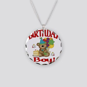 birthday boy bear Necklace Circle Charm