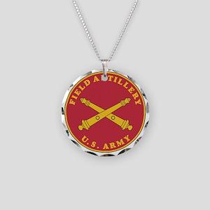 Army-Artillery-Branch-Plaque Necklace Circle Charm