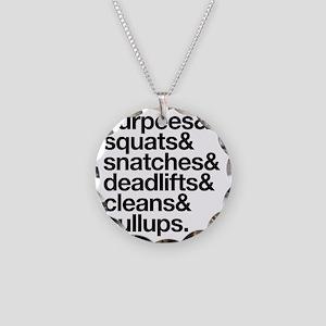 Crossfit Essentials Black Te Necklace Circle Charm