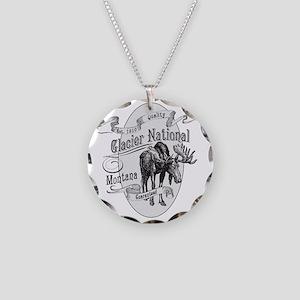 Glacier National Vintage Moo Necklace Circle Charm
