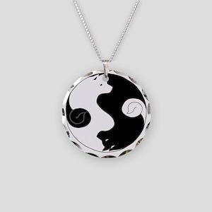 Ying Yang Akita Necklace Circle Charm
