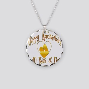happy anniversary heart 40 Necklace Circle Charm