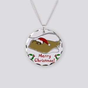 Christmas Stingray Necklace Circle Charm