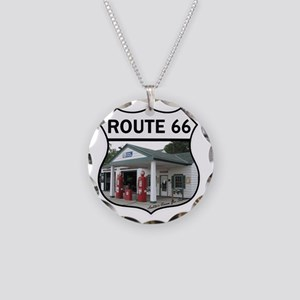 Route 66 - Amblers Texaco Ga Necklace Circle Charm