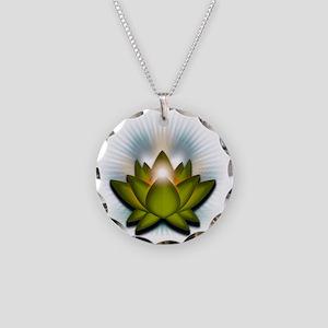 Chakra Lotus - Heart Green Necklace Circle Charm